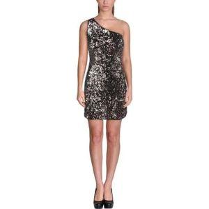 NWT Aqua Gold Sequin One Shoulder Dress